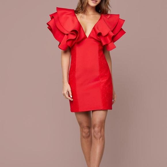 bebe Dresses & Skirts - Bebe Dramatic Ruffle Mini Dress